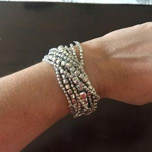 Multi-Strand Silver Metal Stretch Bracelet Set